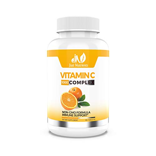 Vitamin C 1000mg Complex with Citrus Bioflavonoids & Rose Hips - Powerful Immune Support, Healthy Skin & Joints - Non-GMO - 50 Tablets