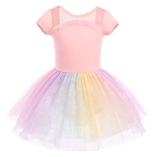 IMEKIS Mädchen Ballettkleid Baumwolle Gymnastik Trikot Tanz Bodysuit Tutu mit Regenbogen Schmetterling Tüll Rock Kurzarm Rückenfrei Ballerina Dancewear Kostüm Rosa 3-4 Jahre