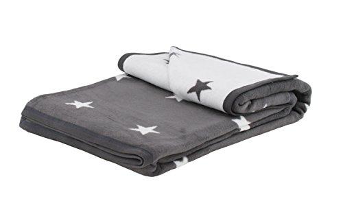 Brandsseller Couverture ultra douce avec étoiles - 2 couleurs - 150 x 200 cm - Couleur : anthracite/blanc