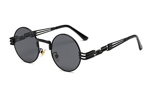 Dollger John Lennon Vintage Steampunk - Gafas de sol para mujer, hombre, redondas, hippie, gafas de sol UV400, marco de metal, (Verres Noirs / Monture Noire), Convient à toutes les formois de visage
