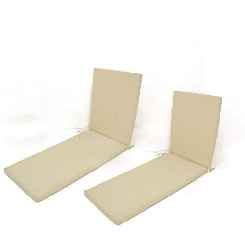 Edenjardi Pack 2 Cojines para Tumbona de Exterior Color Beige | Tamaño 196x60x5 cm | Repelente al Agua | Desenfundable | Portes Gratis