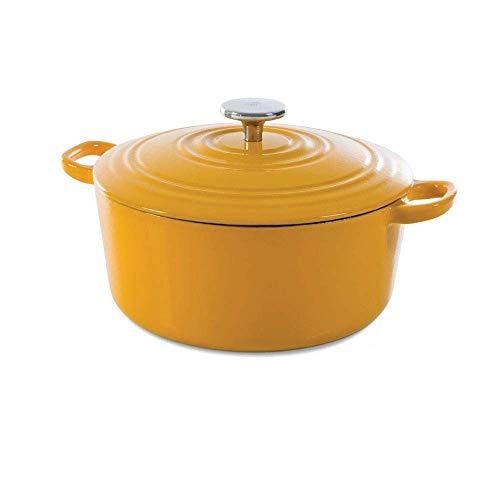 BK Cookware Cocotte en Fonte Émaillée avec Couvercle, adapté à tous les types de cuisinières, induction et four, 28 cm / 6.7L, Jaune Ensoleillé