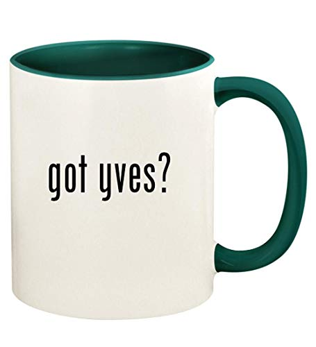 got yves? - 11oz Ceramic Colored Handle and Inside Coffee Mug Cup, Green