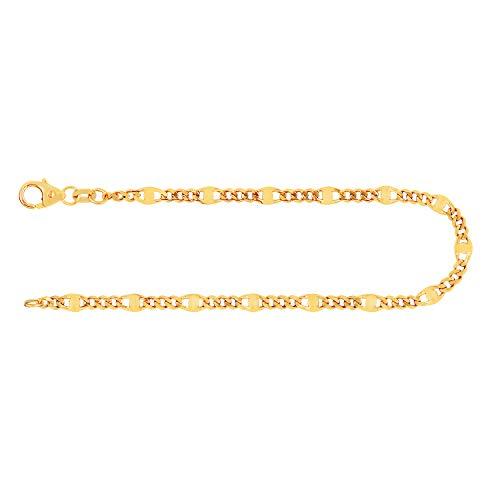 Pulsera para hombre de oro real de 3.1 mm, pulsera cadena de panzer oro amarillo 14 k 585, pulsera de oro con sello, con cierre de langosta, long 18 cm, p. 2,2 g