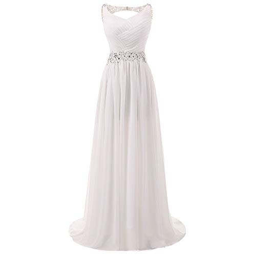 Bruidsjurk, bruidsmeisjesjurk, mouwloos, met open rug, eenvoudig vouwen, V-hals, strass, bruidsmeisjesjurk, maxi-jurk.