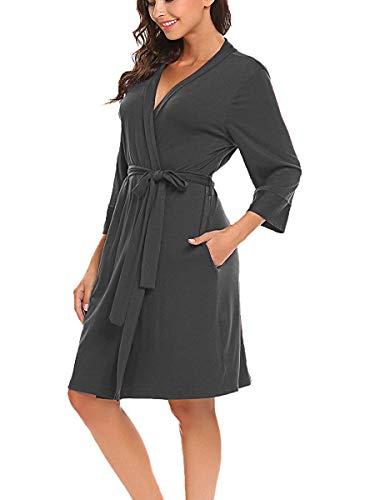 Damen Morgenmantel V-Ausschnitt Kimono Nachthemd Langarm Bademantel Kurz Nachtwäsche Robe Dunkelgrau XL