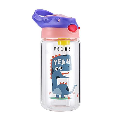 \t Botellas De Agua, 400ml Vidrio Tetera De Paja para NiñOs Bebé De Dibujos Animados Escuela De Estudiantes Botellas De Agua, DiseñO A Prueba De Fugas para Adolescentes, Adultos