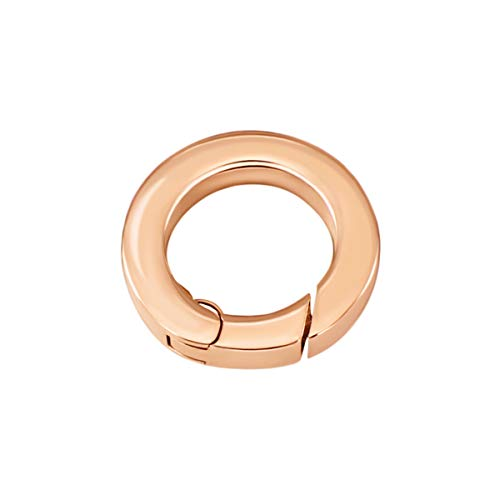 Quiges Clip Ring Carrier Roségold 17 mm Edelstahl Verbindungsring für Kette und Coin Anhänger mit Karabiner Snap Verschluss