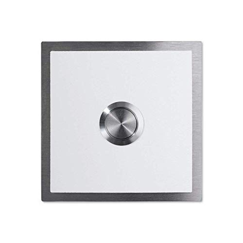 Metzler Türklingel - verschiedene RAL-Farben - Edelstahl-Klingeltaster –Edelstahl Klingelplatte - Farbe: Weiß RAL 9016