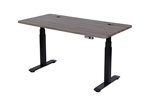 """ApexDesk Flex Series 60"""" Electric Height Adjustable Standing Desk with Memory Preset Controller, Fox Teakwood Top and Black Frame"""