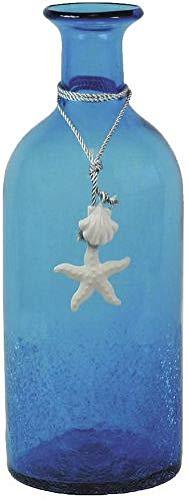 Vase bouteille en verre teinté bleu