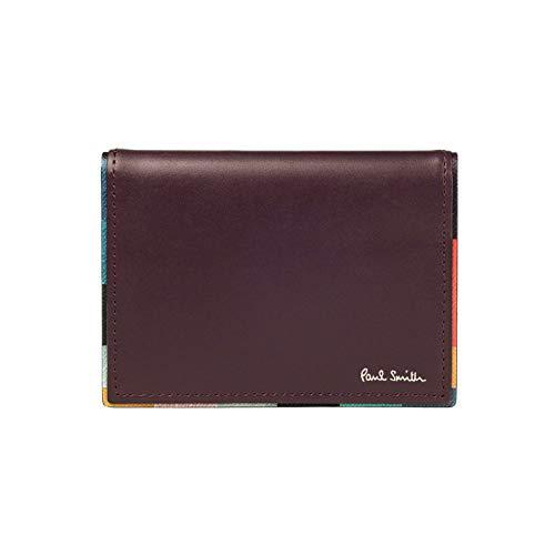 (ポールスミス) PaulSmith ストライプ ポイント レザー パスケース カードケース 本革 定期入れ 873181P512 (名入れなし, バーガンディー)