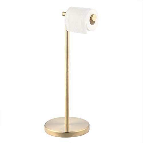 KES Gold Toilet Paper Holder Free Standing SUS 304 Stainless Steel Rustproof Pedestal Lavatory Tissue Roll Holder Floor Stand Modern Brushed Brass Finish, BPH283S1-BZ