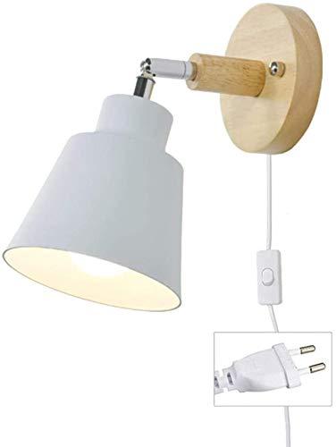Wandlampe Mit Kabel Für Steckdose E27 Holz Wandleuchte Mit Schalter Modern Leselampe Bettlampe Wandstrahler Innen Für Wohnzimmer Schlafzimmer (Weiß)