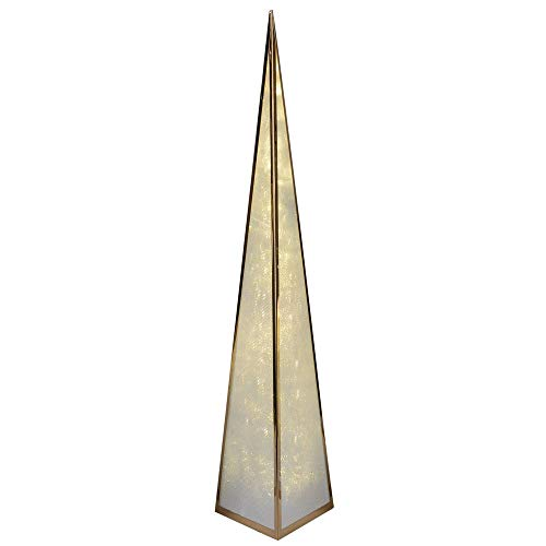 Bollweg - Piramide decorativa illuminabile con 12 LED, 60 cm, con motore rotante e adattatore, 1 pezzo, in metallo dorato