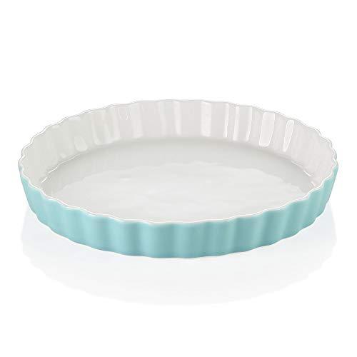 LOVECASA Molde Redondo para Hornear Quiche y Tarta, 1100ml 27,5cm Fuente de Horno de Porcelana Turquesa