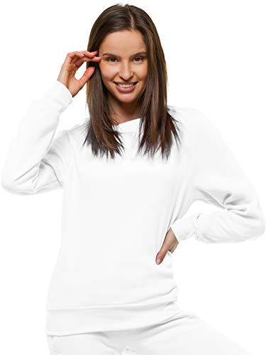 OZONEE Damen Sweatshirt Pullover Langarm Farbvarianten Langarmshirt Pulli ohne Kapuze Baumwolle Baumwollemischung Classic Basic Rundhals-Ausschnitt Sport JS/W01Z WEIẞ S