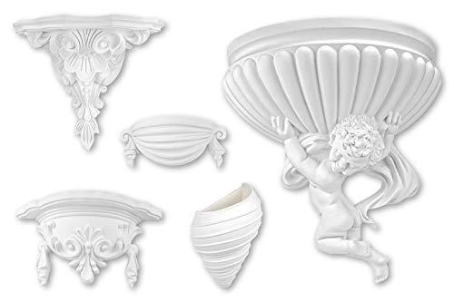 Stuckkonsole - große Auswahl 260 x 320 x 140mm Wandkonsole Barock dekorelement - verzierung aus vorgrundiertem, schlagfestem Polyurethan (K5017)
