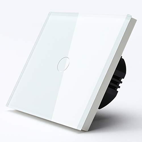 BSEED interruptor luz pared 1 Gang 1 Way interruptor tactil pared blanco interruptores de luz pared con pantalla táctil de vidrio(Max. Last: 3-300 W)