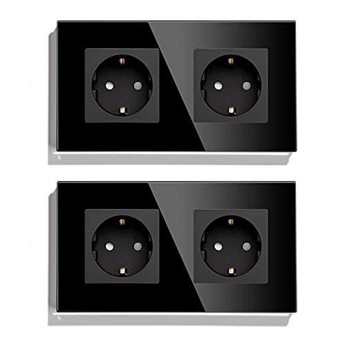 BSEED Schuko Steckdose 2er Pack, 16Amp AC Power Kristallglas Platte, 2 Fach Unterputzdose Steckdose, 157mm Doppelt Schutzkontaktbuchse Wandsteckdose Schwarz