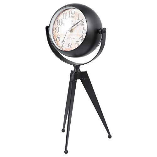 Artibetter Trípode de Sobremesa Reloj Vintage Analógico Despertador sin Tictac Silencioso Repicador Reloj de Escritorio Ornamento para La Oficina en Casa Dormitorio Decoración Negro