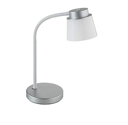 ALCO-Albert 935-28 - Lámpara led de escritorio (pie y pantalla pequeña, 4 niveles de intensidad, 12 ledes, plástico, 6 W, 13 x 13 x 36,5 cm), color plateado