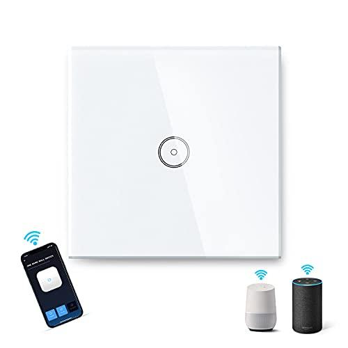 Aigostar WiFi Interruptor de Luz 1 Gang 1 Vía, Interruptor Inteligente Compatible con Alexa/Google Home, Interruptor de Pared Inteligente con App AigoSmart y Función de Temporizador Control por Voz