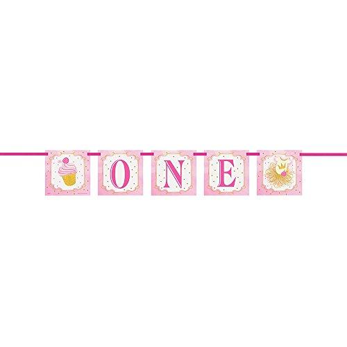 Unique Party- Guirnalda de Letras: Fiesta de Primer Cumpleaños para Niña, Color pink & gold, 1,2 m (58157)