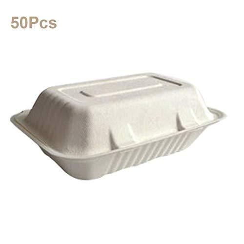 Jinclonder 50 stuks wegwerp- afbreekbare snackbox, picknick-lunchbox voor buiten, Takeaway Express Box, Lunchbox, milieuvriendelijk en gezondheid, geen lekkage, biologisch afbreekbaar