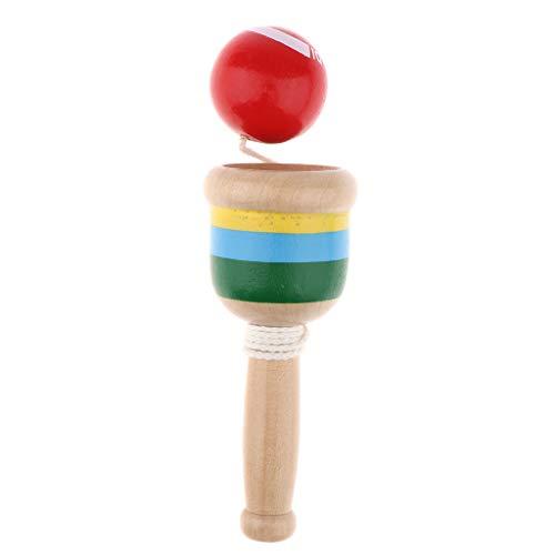 FLAMEER Kendama aus Holz, Kugelfangspiel, Geschicklichkeitsspiel, Kugel 3 cm Durchmesser, Japanisches Traditionelles Holzspielzeug - Rot
