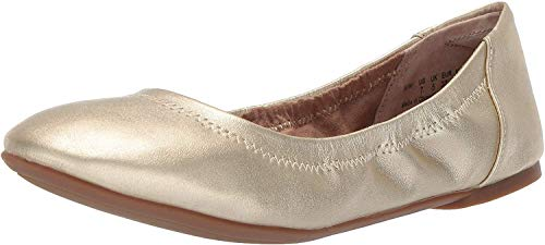 Amazon Essentials Women's Belice Ballet Flat, Gold, 8.5 Wide US
