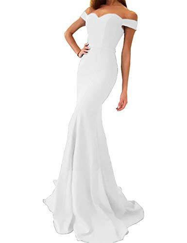 yinyyinhs Off The Shoulder Mermaid Prom Dress Sweetheart Long Formal Evening Gown White Size 10