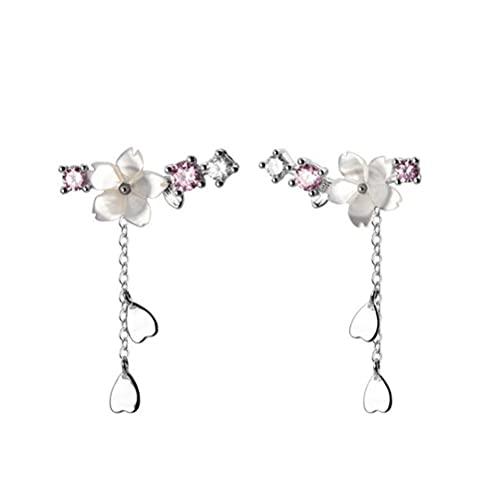 Pendientes Retro, Pendientes de Flores Dulces Borla Joyas de Oreja de Plata Pendientes creativos Regalo de joyería para Mujeres y niñas