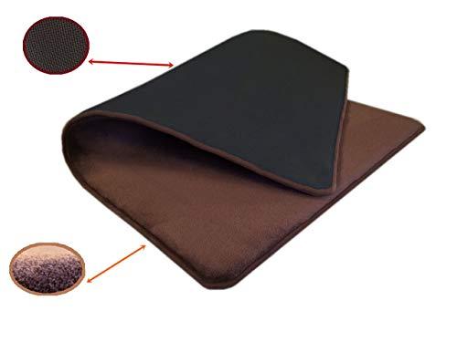 54''x37'' Microfleece Plush Brown Luxurious Comfort Memory Foam Waterproof Anti Slip Mat Rug Pad for Home, Kitchen, Bath, Bedroom, Pet, Activities.