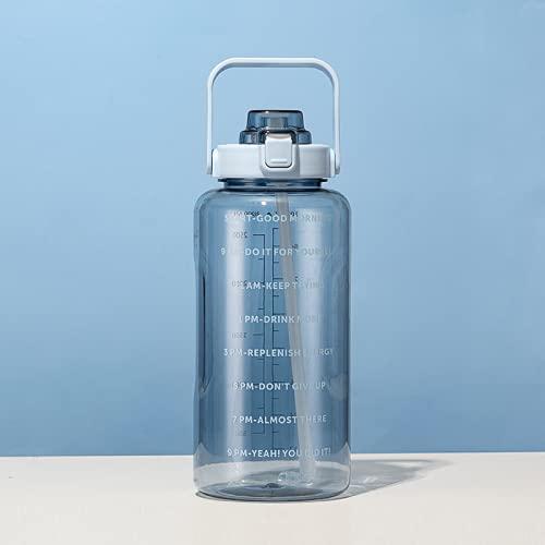 YIXINYOUPIN Yixinyoupin Simple gran capacidad plástico taza deportes botella portátil al aire libre paja taza rebote cubierta espacio taza multicolor 2000 ml azul