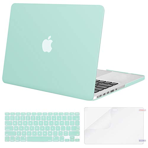 MOSISO Case Only Compatible with Older Version MacBook Pro Retina 13 inch (Models: A1502 & A1425) (Release 2015 - end 2012), Plastic Hard Shell Case & Keyboard Cover & Screen Protector, Mint Green