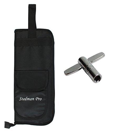 YMC DSB10-BK 10mm Foam Drum Stick Bag Holder Mallet Bag Drumstick Bag with A Drum Key -Black