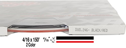 "Universal Duo-Tone 0204246 - Auto Customizing 2 Color Dual Pinstripe - 4/16' x 150' (1/8"" Stripe, 1/16' Gap, Then 1/16"" Stripe) - 246-Black/Red"
