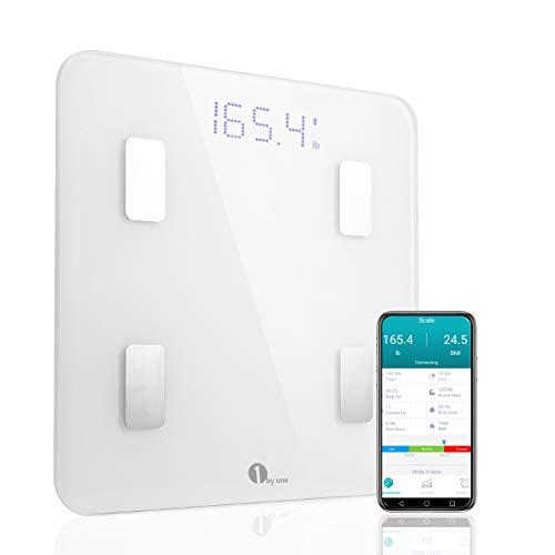 1byone Báscula corporal digital inalámbrica con App para Android e IOS para administrar el peso corporal, grasa corporal, agua, músculos, IMC, BMR, masa ósea y grasa visceral-blanco