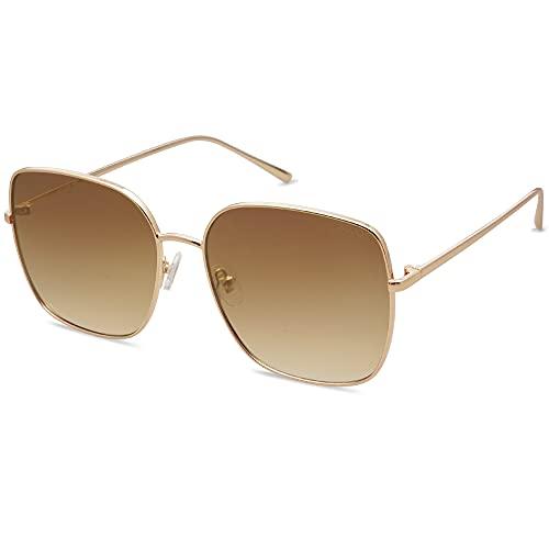 SOJOS Trendy Oversized Square Sunglasses for Women Men Flat Mirrored Lens Shield Sun Glasses Eternal SJ1146 with Shiny Gold Frame/Gradient Brown Lens