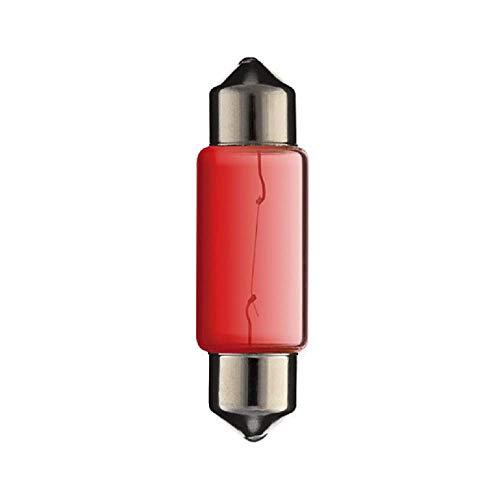 Ampoule Navette, SV8.5, 12V, 5W, 10mm x 36mm, Rouge