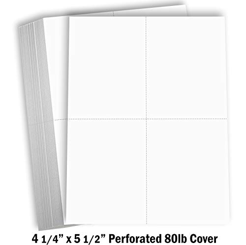 Hamilco White Cardstock Thick Paper - 8 1/2 x 11' Perforated 4 Up - 4 1/4 x 5 1/2' Cards - 100 Pack 400 Cards