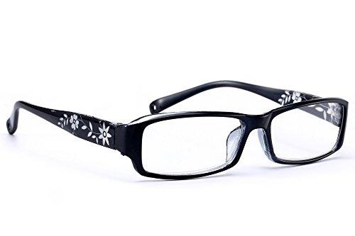 Señoras Mujeres Gafas de lectura Delgado Flores Reading Glasses +0.50 +0.75 +1.0 +1.5 +2.0 +2.5 +3.5 +4.00 MFAZ Morefaz Ltd (Black, 0.5)