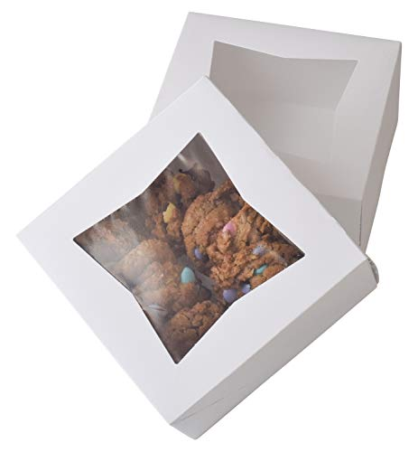 6' x 6' x 3' White Bakery Box | Auto-Popup | Small Pie Boxes with Window | 20 Pack