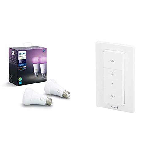 Philips Hue White and Color Ambiance 2-Pack A19 LED Smart Bulb, Bluetooth & Zigbee Compatible (Hue...