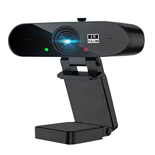 Webcam 2K Full HD con Micrófono Y Cubierta de privacidad, 1440P Webcam PC con Corrección de Iluminación,Cámara Web USB Plug and Play para Skype,Zoom,Youtube,Portátil Videollamada,Conferencia