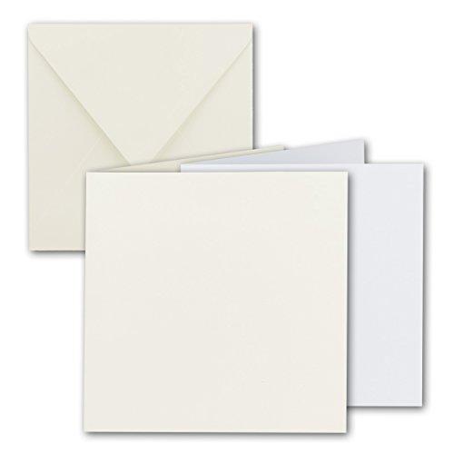 FarbenFroh by Gustav Neuser Lot de 50 cartes pliantes carrées avec enveloppes et feuilles Blanc naturel 15 x 15 cm
