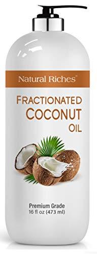 Fractionated Coconut Oil Aromatherapy Relaxing Massage Carrier Oil for Hair & Skin Care Diluting Essential Oil Moisturizer Softener Light Nourishing Oil Healthy Skin Hair MCT Hexane Free 16 oz
