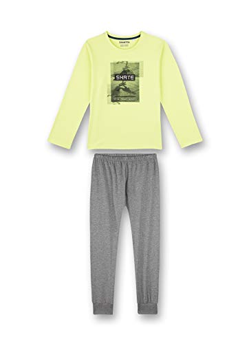 Sanetta Jungen Schlafanzug lang gelb Pyjamaset, New Lime, 128
