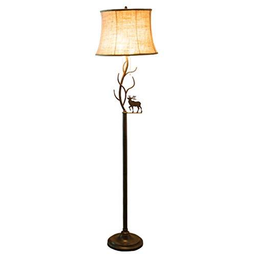 YS Lámpara de Pie Lámpara de Pie con la Mesa de Hierro Forjado Retro Lámpara de Pie Iluminación de Interior Antiguo,Varilla Recta